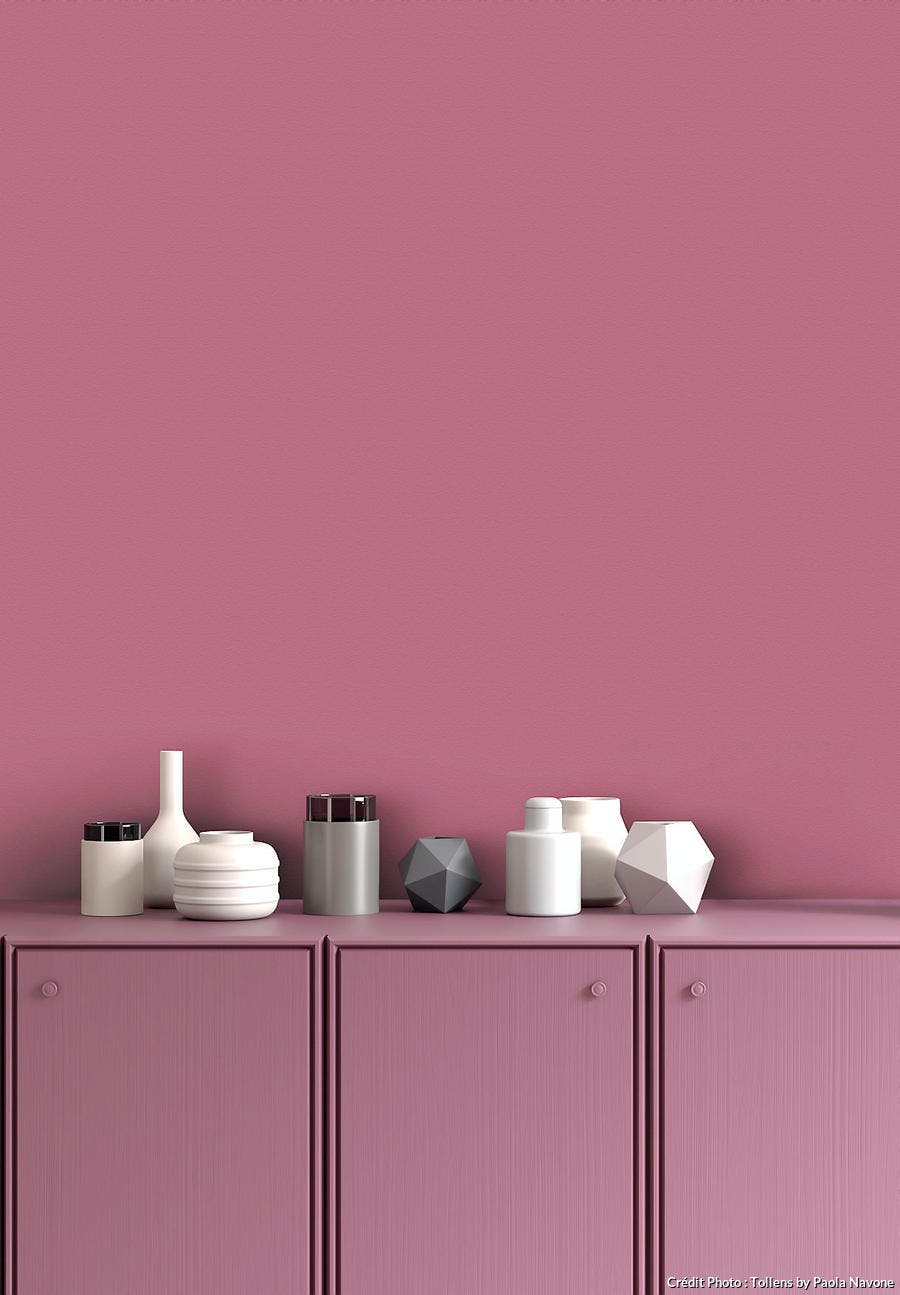 mur et commode couleur rose blush