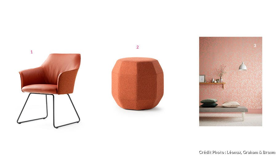 Couleur corail : chaise et pouf Léonux, affiche Graham & Brown
