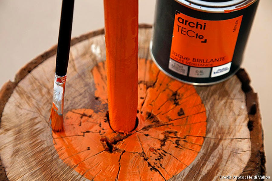 Socle peinture orange