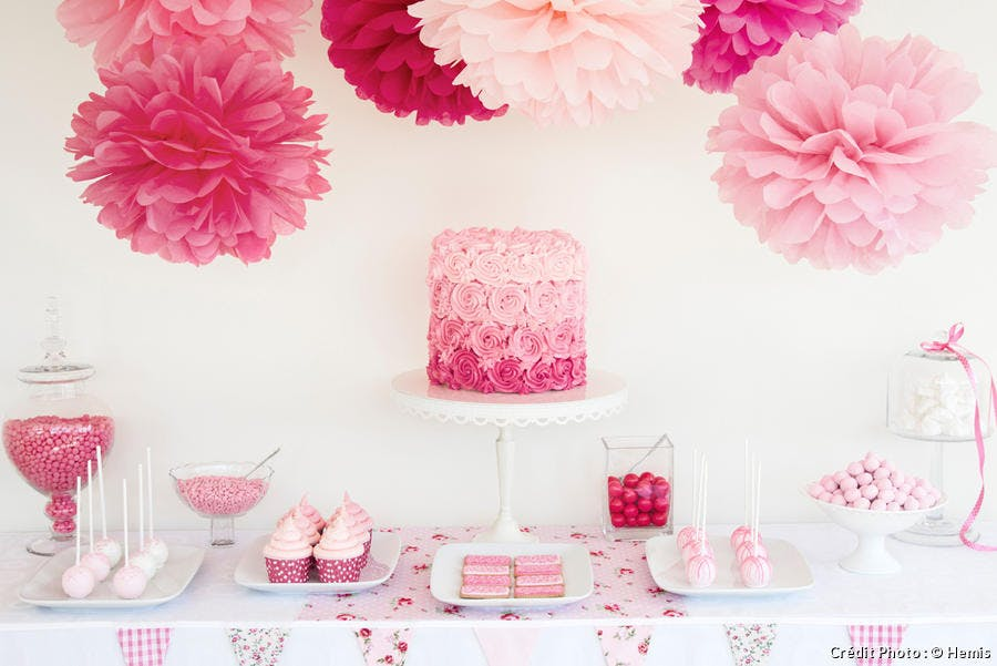 une baby shower party rose
