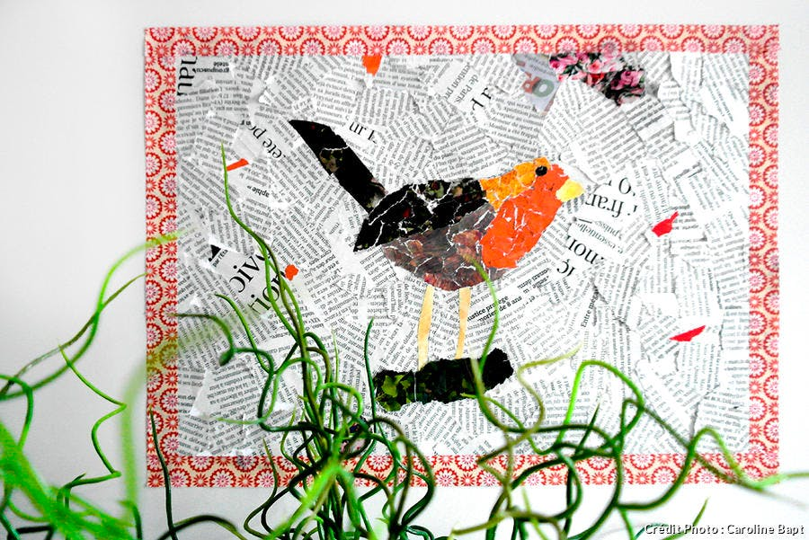 oiseau collage papier