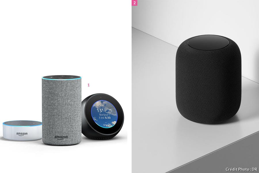 Les assistants vocaux Amazon echo et Apple Home